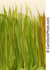primavera, verde, acuarela, resumen