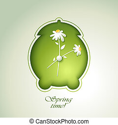 primavera, verde, despertador, con, flowe