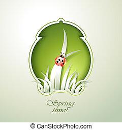 primavera, verde, despertador, con, pasto o césped