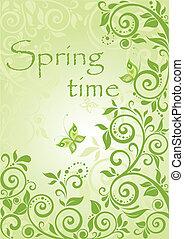 primavera, verde, verticale, bandiera