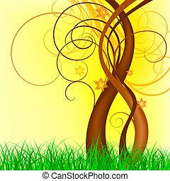 primavera, vetorial, desenho
