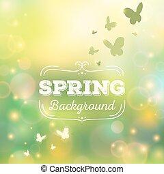 primavera, vetorial, fundo, ilustração