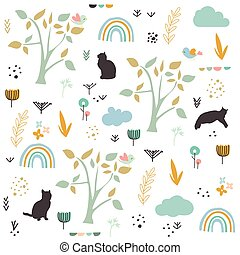 primavera, vetorial, padrão, gatos