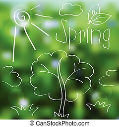 primavera, vetorial, paisagem, fundo