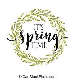 primavera, vetorial, palavras, wreath., ilustração
