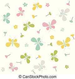 primavera, vetorial, pattern., seamless, experiência.
