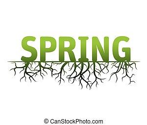 primavera, vetorial, verde, ilustração