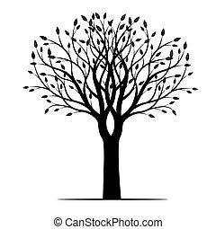 primavera, vettore, albero, illustration., leafs.