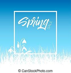 primavera, vettore, erba, vendita, fondo