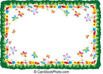primavera, vettore, illustrazione, cornice