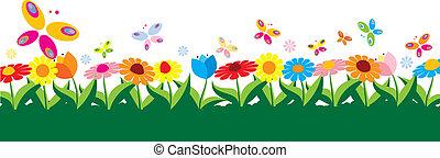 primavera, vettore, illustrazione
