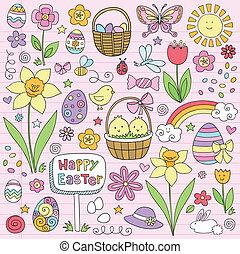 primavera, vettore, pasqua, fiore, doodles