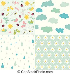 primavera, vettore, patterns., seamless, backgrounds.