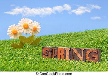 primavera, vida, ainda, letterpress