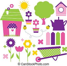 primavera, villaggio, e, giardino, set, isolato, bianco
