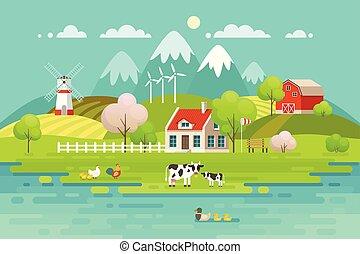 primavera, villaggio, paesaggio, eco, living.
