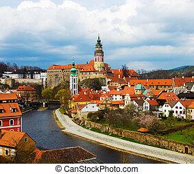 primavera, vista, de, cesky, krumlov., república checa