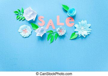 primavera, voador, cartaz venda, bandeira