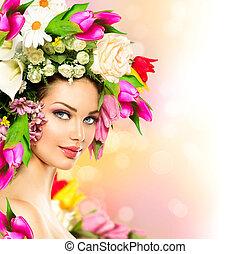 primavera, woman., beleza, modelo, menina, com, flores coloridas, penteado