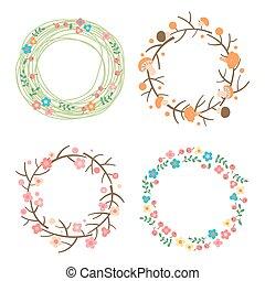primavera, wreaths., framework., verano, estacional, otoño, ...