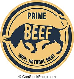 Prime beef stamp - label with bull, natural meat sticker