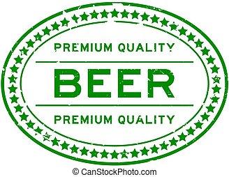 prime, bière verte, ovale, mot, blanc, grunge, cachet, timbre, caoutchouc, backgoround, qualité