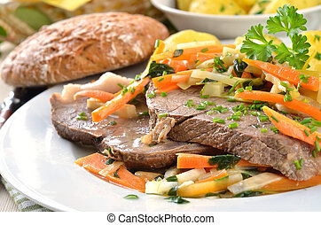 Prime boiled beef with root vegetables and butter potatoes (...