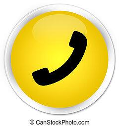 prime, bouton, jaune, téléphone, rond, icône