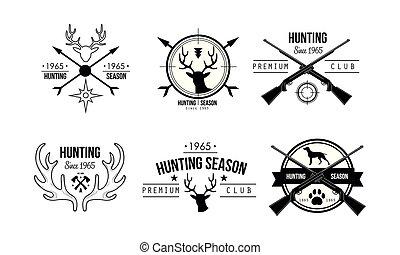 prime, chasse, chasse, club, saison, illustration, voyage, vecteur, aventure, fond, logo, blanc, vie sauvage, conception, insignes, retro
