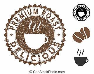 prime, délicieux, cachet, timbre, café, rôti, grunge, tasse, textured