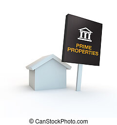prime exclusive new homes and properties symbol - 3d simple ...