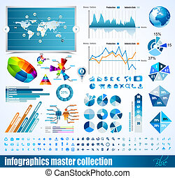 prime, histograms, elements., icônes, globe, graphiques, diagramme, conception, flèches, lot, infographics, maître, collection:, apparenté, 3d
