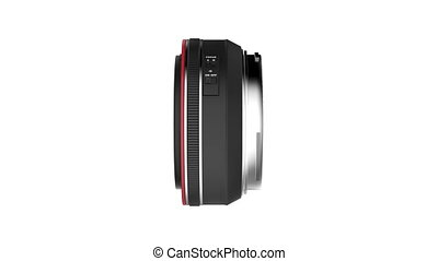 Prime lens rotates on white background
