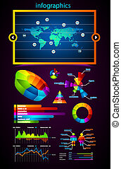 prime, maître, collection, infographics