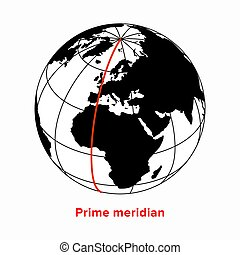 Prime meridian, longitude 0 line in a geographic coordinate ...