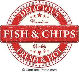 prime, nourriture, qualité, fish, timbre, chaud, délicieux, frais, chips