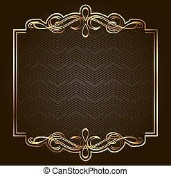 prime, or, cadre, calligraphic, sombre, arrière-plan., vecteur, conception, retro, élément