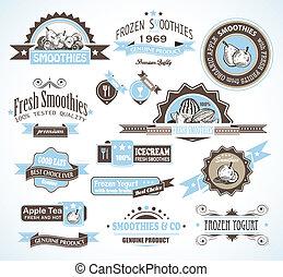 prime, qualité, collection, de, fruits, smoothies, thé, et, yogourt gelé, étiquettes, à, différent, styles, et, espace, pour, text.