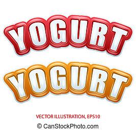prime, qualité, collection, de, yaourth, étiquettes, à, différent, colors.