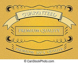 prime, qualité, retro, étiquette