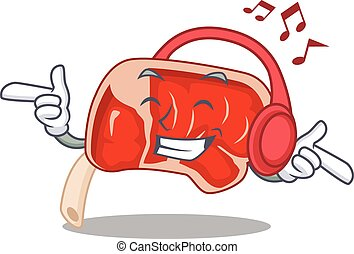 Prime rib Cartoon design concept listening music on ...