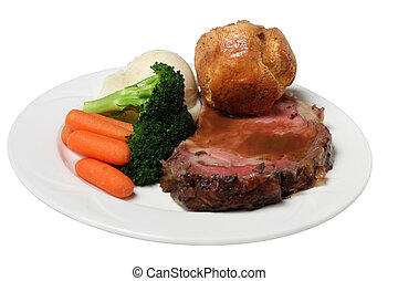 prime rib - isolated primerib dinner with veg and mash ...