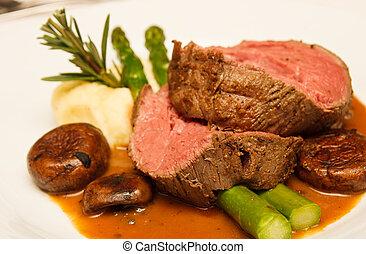 Prime Rib with Asparagus and Mushrooms - Rare prime rib beef...