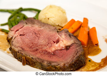 Prime Rib with Carrots Potatoes and Green Beans - A dinner...