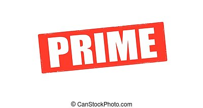 Prime - Stamp with word prime inside, vector illustration