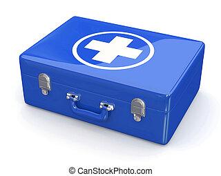 primeiro, aids., equipamento médico, branco, isolado, fundo