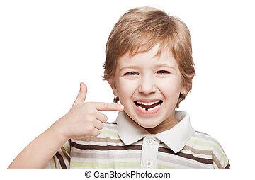 primeiro, bebê, leite, ou, temporário, dente, outono, saída