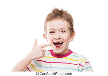 primeiro, bebê, leite, ou, temporário, dentes, outono, saída