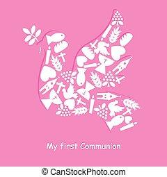 primeiro, comunhão, cartão, convite