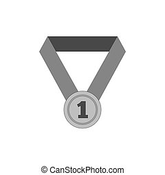 primeiro lugar, medalha, icon., símbolo, em, trendy, apartamento, estilo, isolado, branco, experiência.